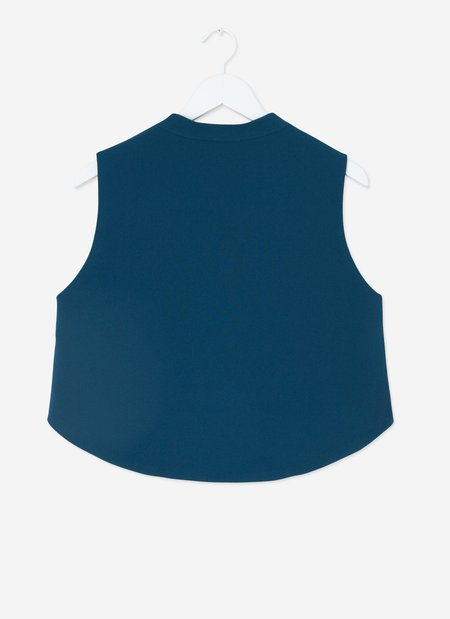 KAAREM  Wind Chime Raised Collar Cropped Top - Turquoise