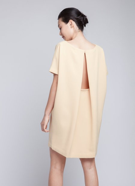 Kaarem Yellow Angle Mini Dolman Open Back Dress