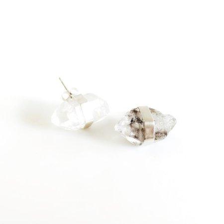 Beach Bones: Sterling Bezeled Crystal Studs