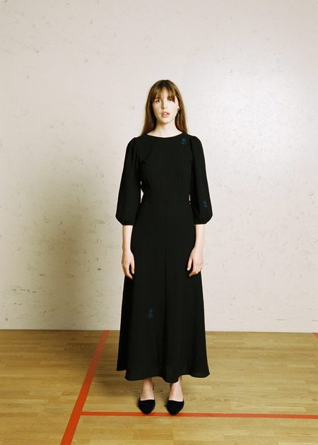 Penny Sage Robin Dress - Black & Blue Flowers