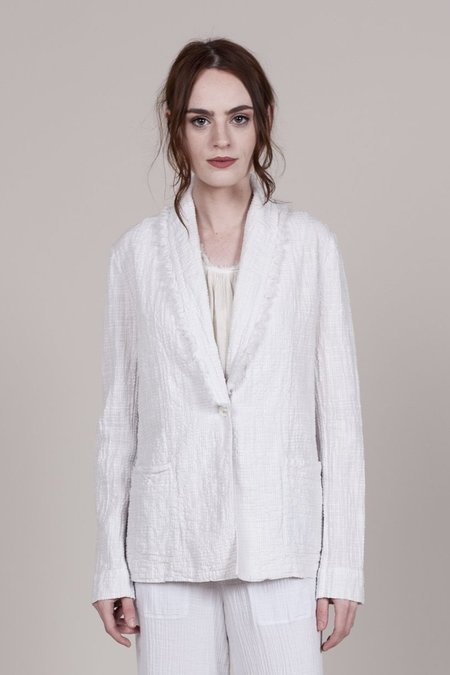 Raquel Allegra Textured Gauze Blazer - Dirty White