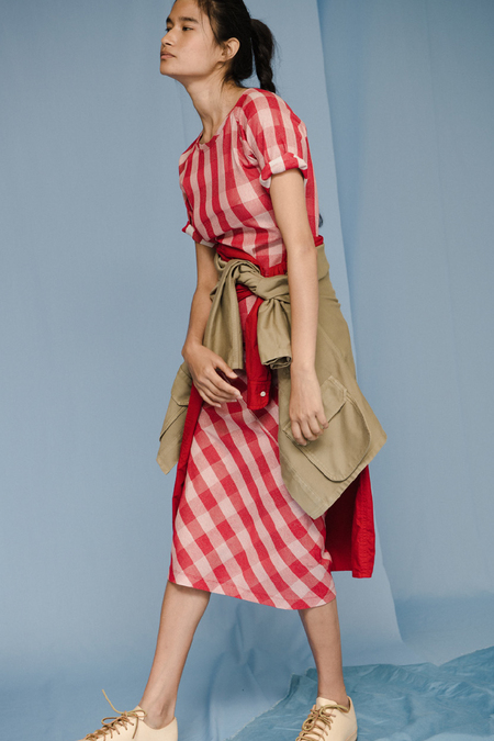 Caron Callahan COLLETTE SKIRT in Red Gingham