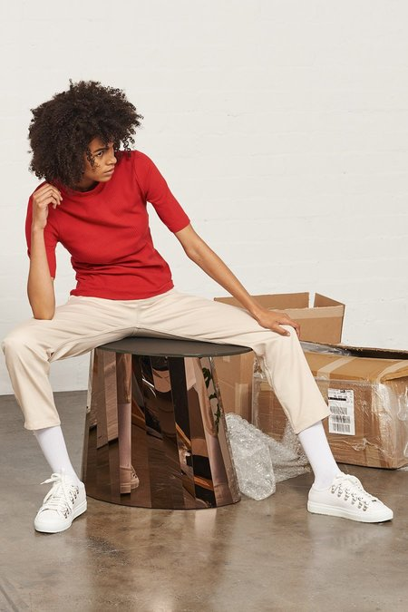 Kowtow Building Block Ladder Rib Fitted Top in Red