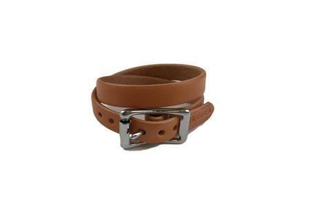 Yuketen Double Wrap Plain Bracelet Russet with Nickel