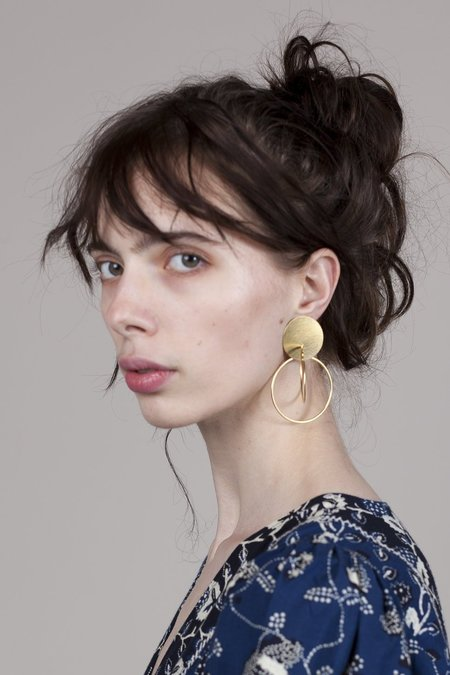 Annie Costello Brown Mini Halo Earrings - Gold