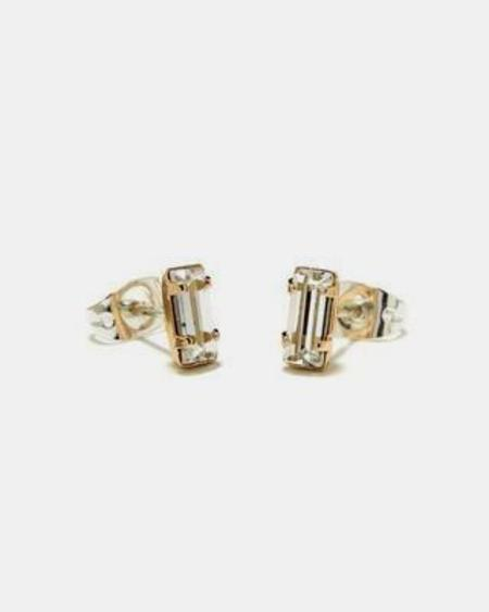 Bing Bang NYC Tiny Baguette Studs - Yellow Gold