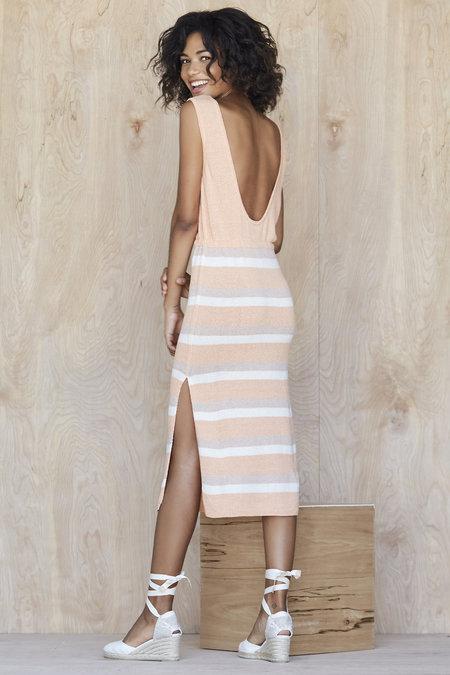 Spring Solid & Stripe Lowback Drawstring Dress