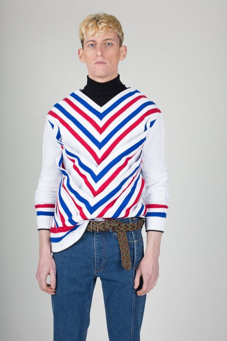 Unisex Y/project Striped V-Neck Pullover