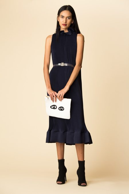 Tibi Pleated Sleeveless Dress W/ Removable Belt