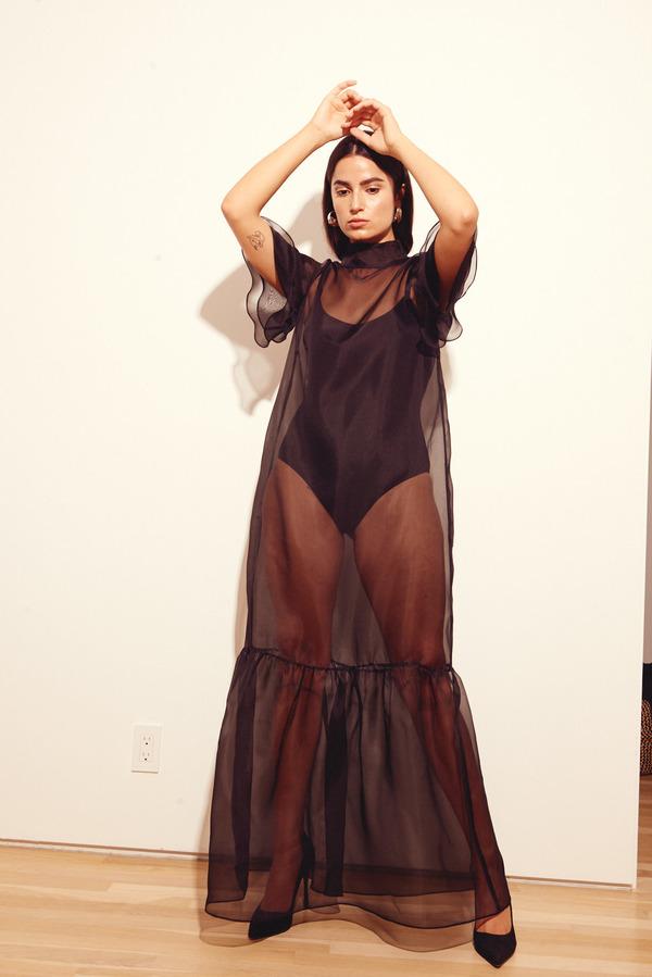 Kamperett Barre Organza Dress in Black