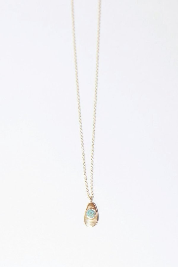 Seaworthy Agua Necklace with Turquoise in Brass