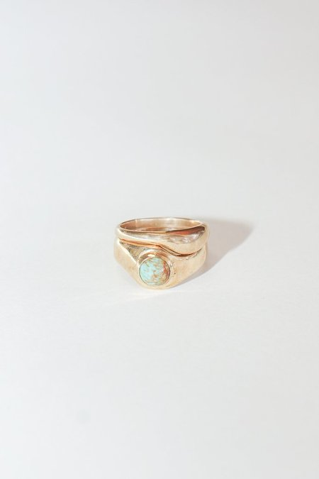 Seaworthy Emmeline Ring Set with Turquoise in Brass