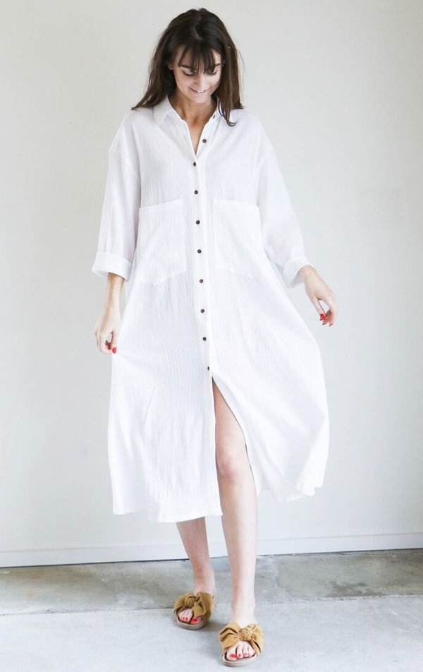 Sunja Link Shirt Dress in White Crinkle Cotton