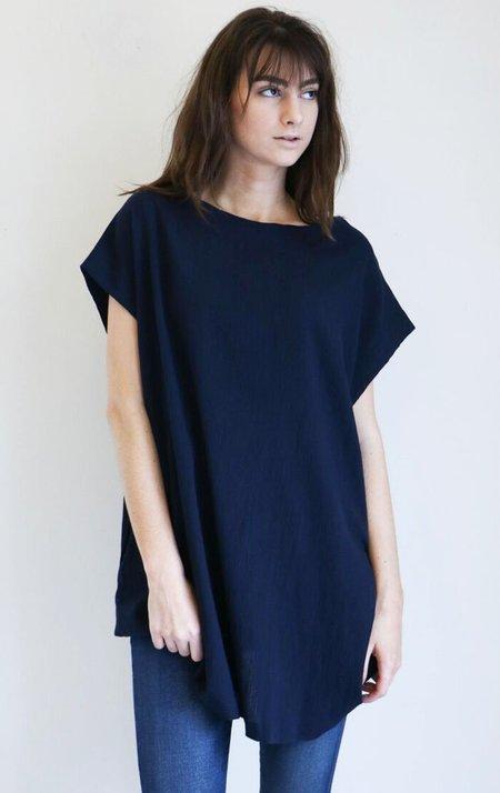 Sunja Link Sleeveless Tunic in Navy Crinkle Cotton