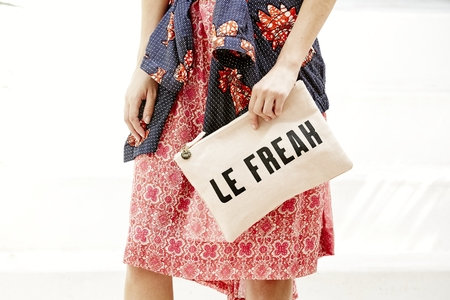 Clare V. Flat Clutch in Blush Linen W/Black Le Freak And Poppy C'est Chic Maison