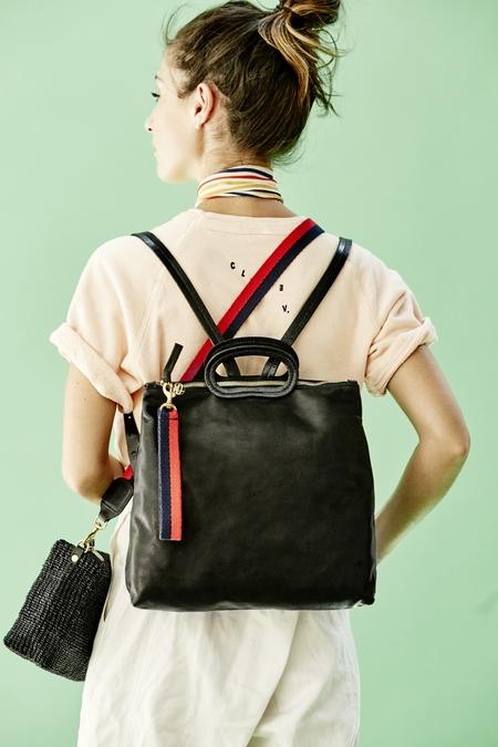 Clare V. Marcelle Backpack in Black Velvet Leather Maison