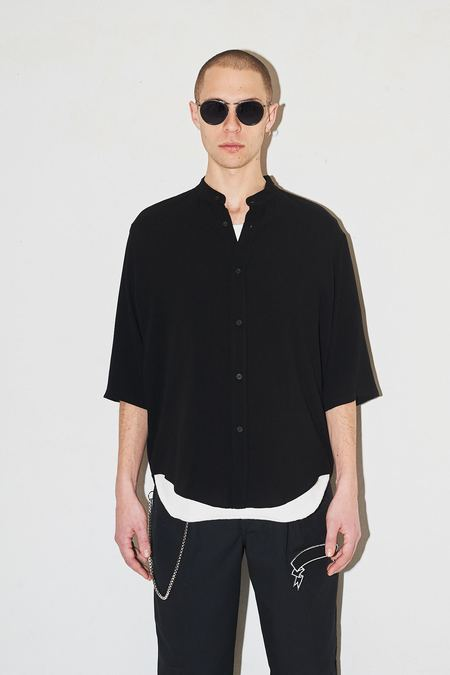 Assembly New York Non Collar Shirt - Black Crepe