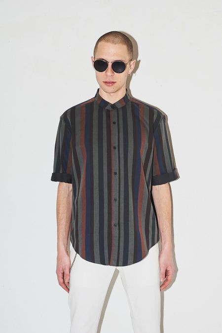 Assembly New York Striped Non Collar Shirt