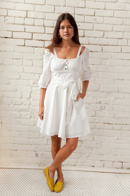 PLANTE PRIMROSE DRESS WHITE COTTON