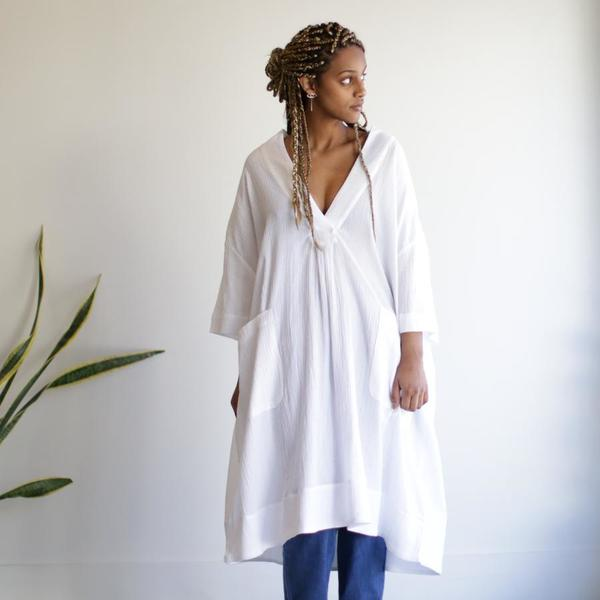 Sunja Link Pullover Dress - White