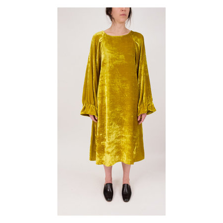 Creatures of Comfort Larix Dress in Gold Velvet