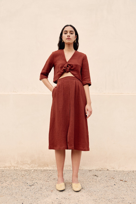 First Rite Pleated Skirt in Rust