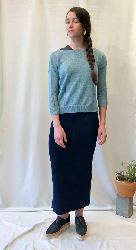 Demy Lee Palmer Sweater in Dusty Blue, Charcoal, Mustard and White