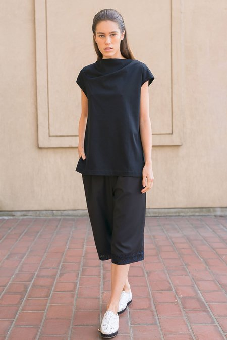 A.Oei Studio Draped Neck Long Tee - Black
