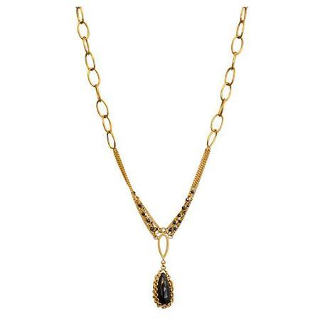 Anthony Nak Necklace, Black Spinel Drop 18K