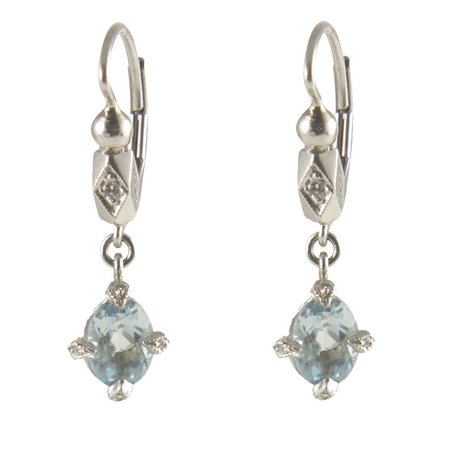 Cathy Waterman Earrings - Aqua Antique Prong Drops