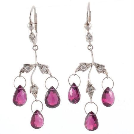 Cathy Waterman Earrings - Raspberry Garnet 3 Leaf Chandelier