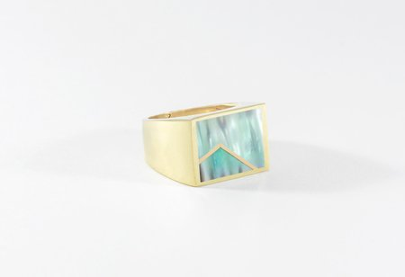 Legier Stone Signet Ring with Metal Inlay