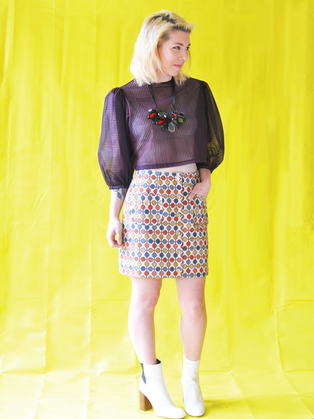 "One Imaginary Girl ""Duckie"" Puff Sleeve Crop Blouse"