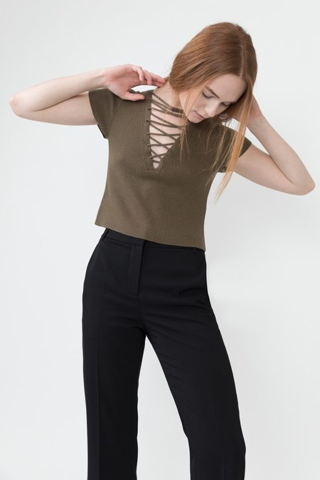 T by Alexander Wang Lace-up Cropped Tee