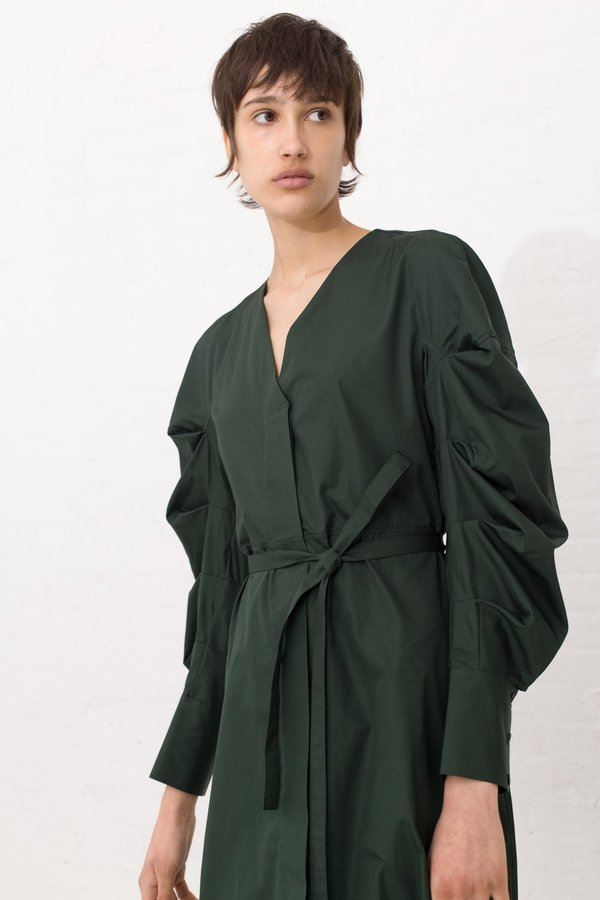 Veronique Leroy Collarless Dress with Pleated Sleeves in Green