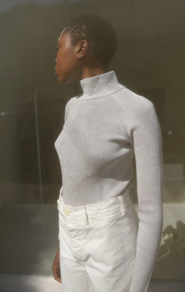 Carven Ribbed Turtleneck - Metallic Silver