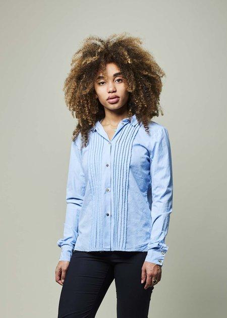 Kristensen du Nord Cotton Tux Shirt - Sky Blue