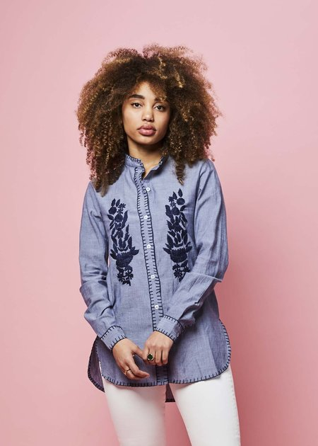 Rose and Rose Paris Embroidered Shirt - Chambray/Navy