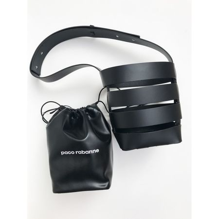 Paco Rabanne Cage Black Bucket Bag