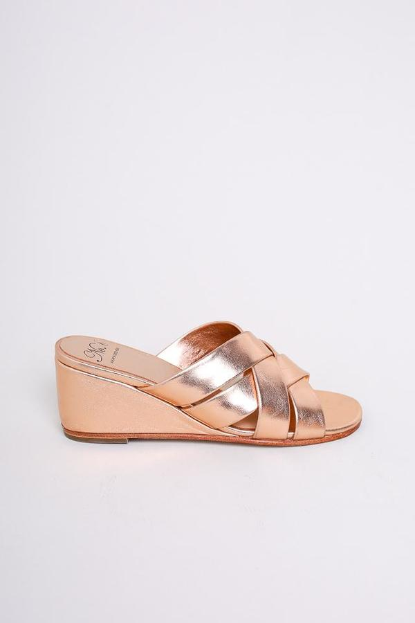 No.6 Orlando Woven Wedge in Rose Gold