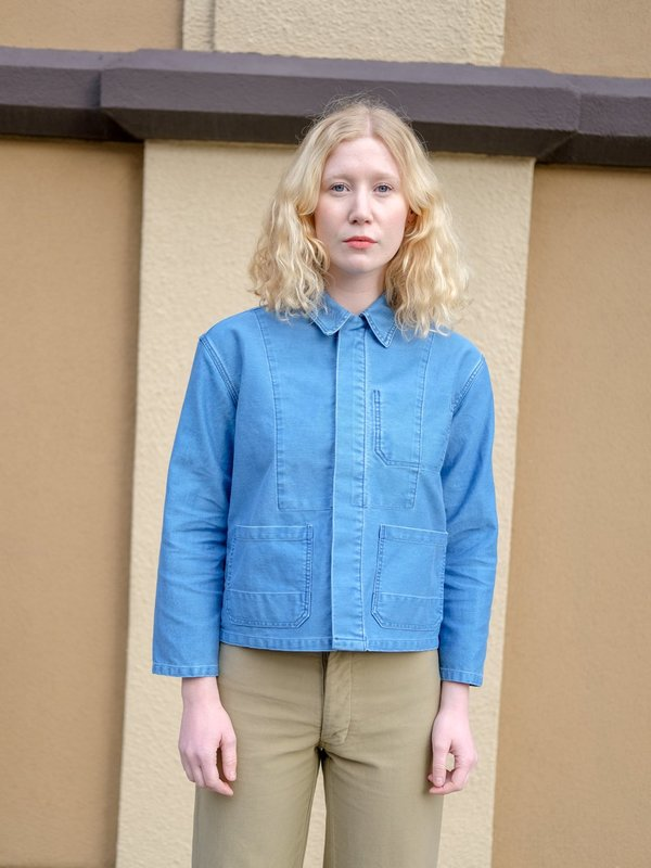 Caron Callahan KRASNER JACKET in Faded Indigo Twill