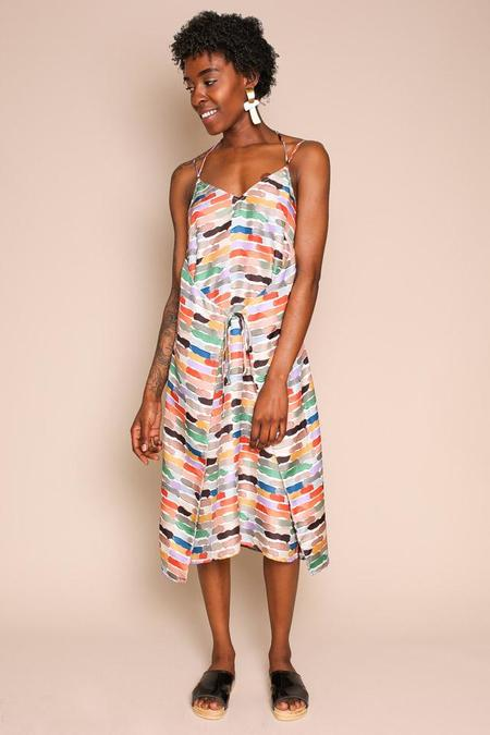 Where Mountains Meet Olive Dress in Lenny Print