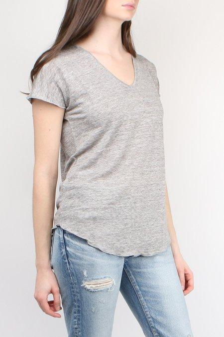 Cathrine Hammel Linen V-Neck Tee - Light Grey Melange