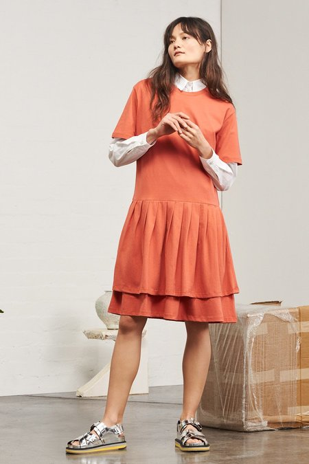 Kowtow Building Block Pleated Skirt Dress in Peach