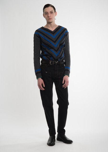 Y/project Black Striped V-Neck Sweater