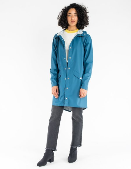 RAINS Long Jacket - Faded Blue