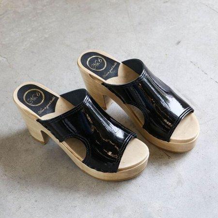 No. 6 Alexis Cut Out Slide Platform Clog in Black Patent