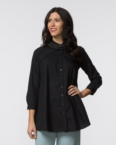 SBJ Austin Carl Top - Black Poplin