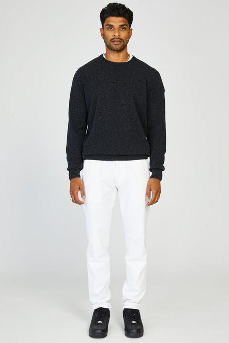 PRESIDENTS WASHED WOOL KNIT CREWNECK SWEATER - CHARCOAL