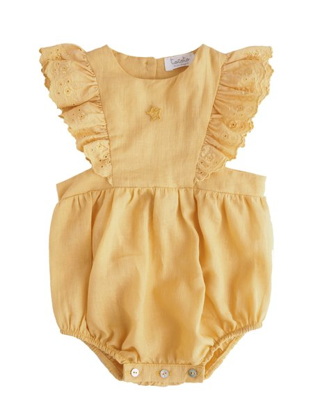 Kids Tocoto Vintage Ruffle Romper in Mustard